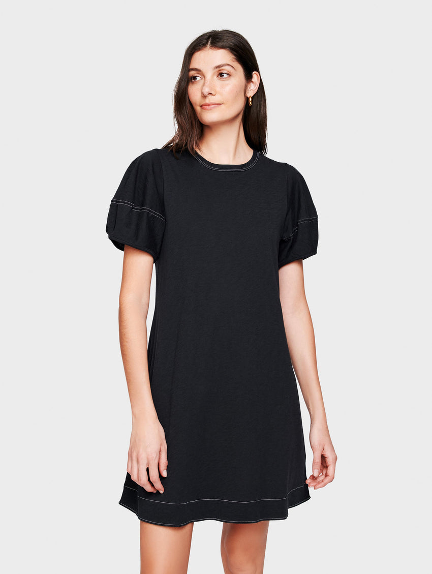 Cotton Slub Lantern Sleeve Dress
