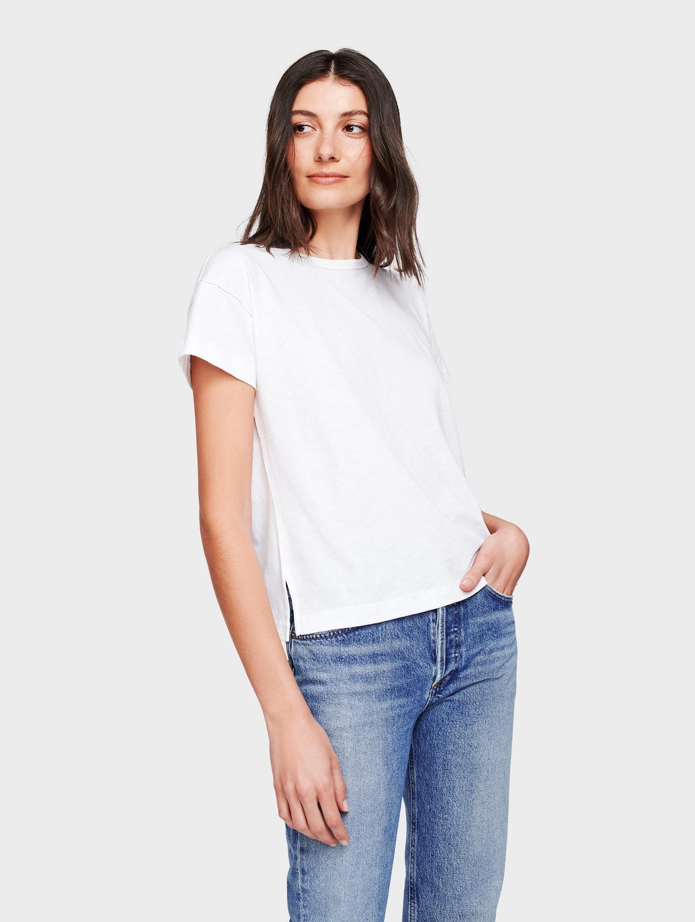 Cotton Slub Drop Shoulder Tee
