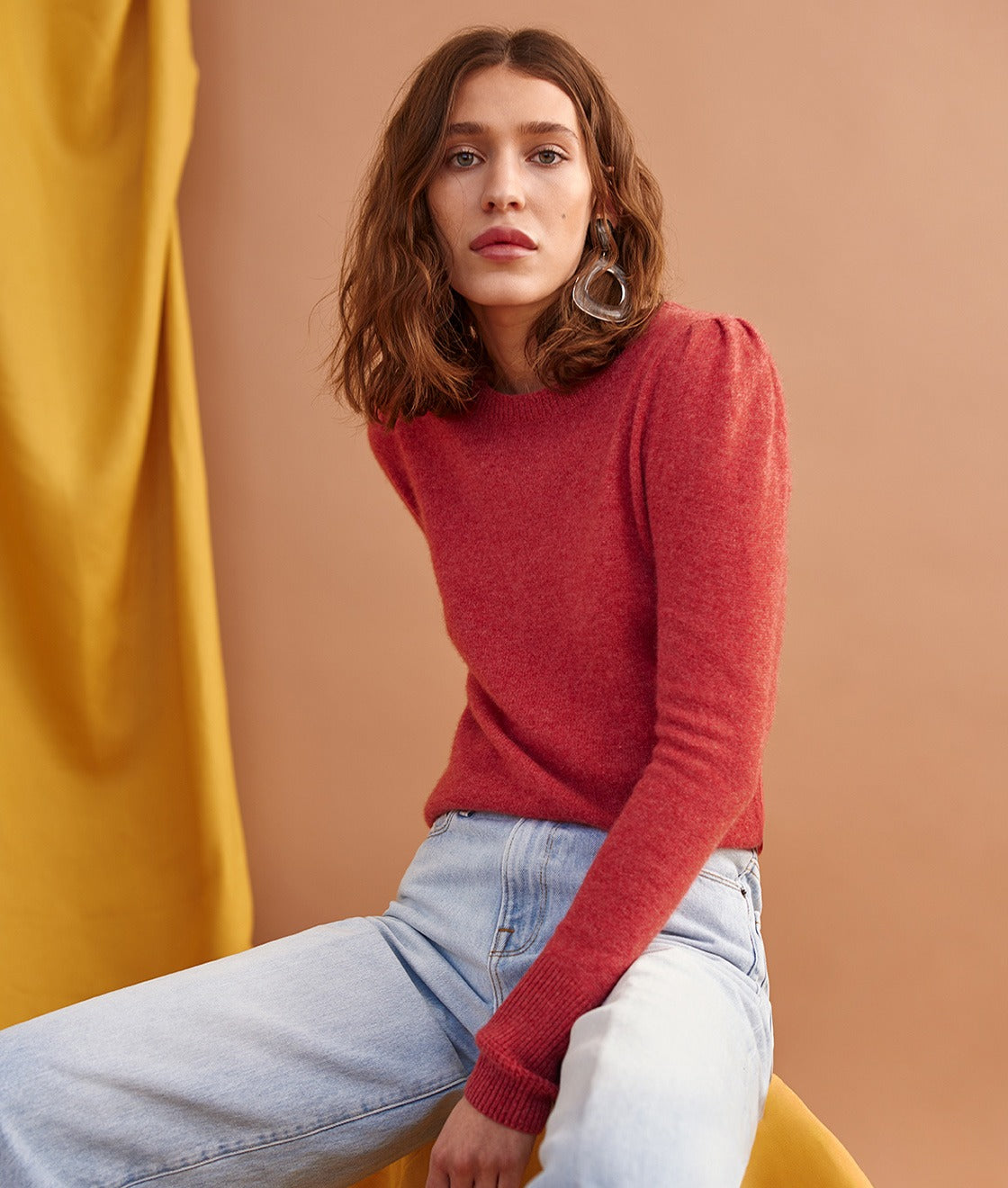The shirred puff sleeve transforms our favorite crewneck.