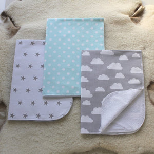 Set Of 3 Diaper Changing Blankets ''Clouds''