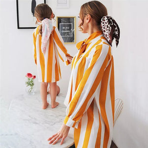 Striped orange Mommy and Me dresses