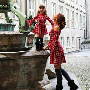 Plaid red Mommy and Me dresses