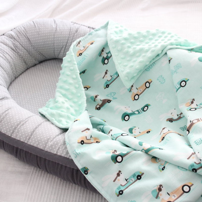 Mint Color Blanket With Cars