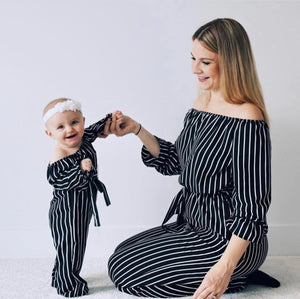 Striped Mommy And Me Outfits Jumpsuits