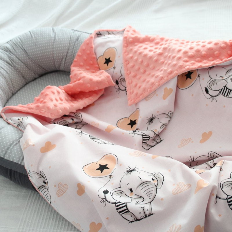 Peach Color Blanket With Elephants