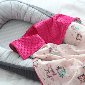 Pink Color Blanket With Owls