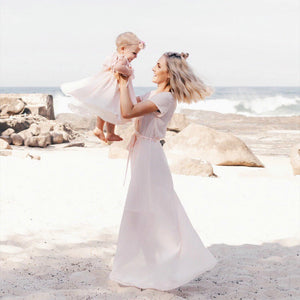 Beige Mommy And Me Dresses