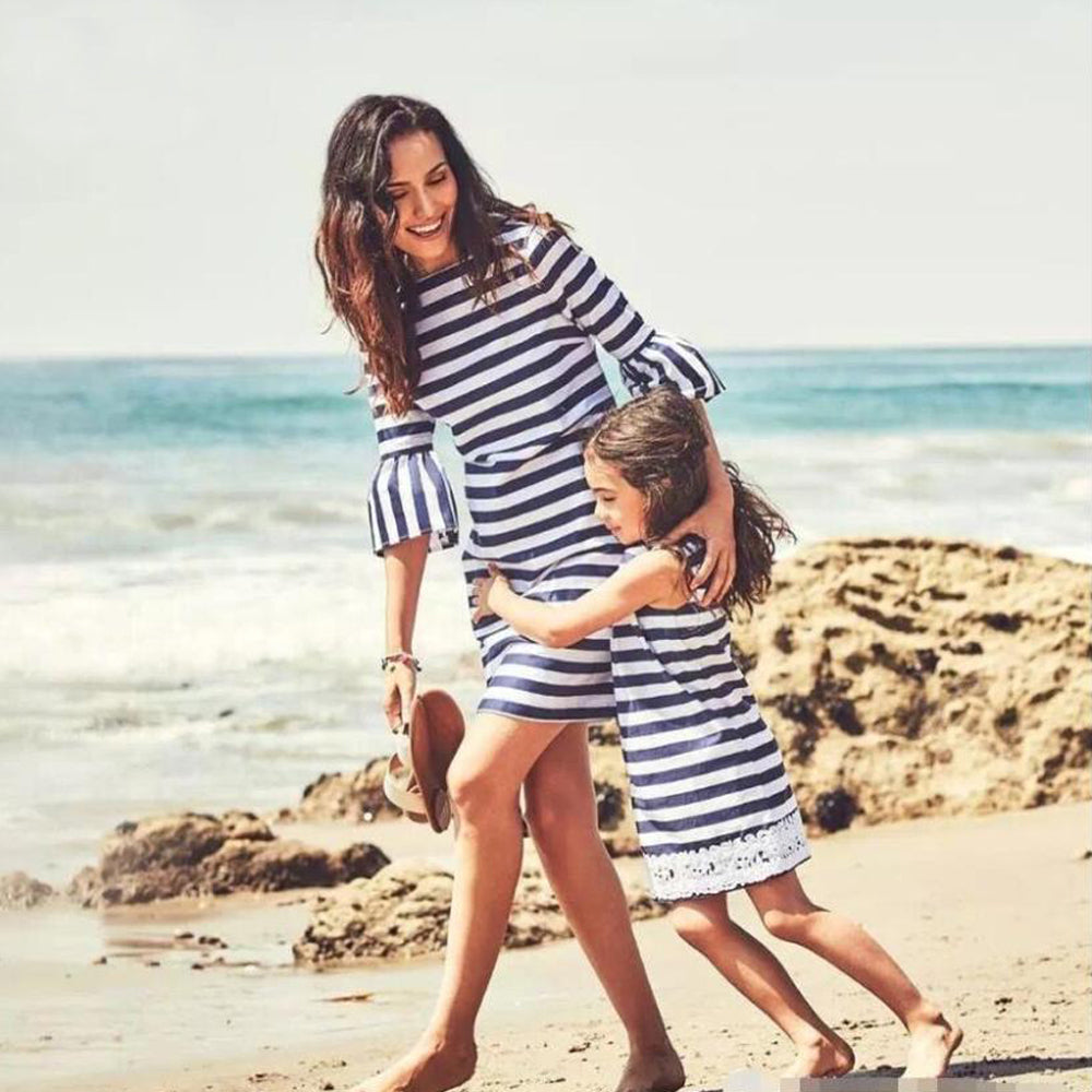 Striped Mommy and Me outfit set