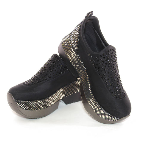 Black Platform Slip-On Sneakers Trimmed In Black Crystals And Metallic Silver