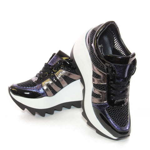 Black Leather And Metallic Mesh Lace Up Platform Sneakers