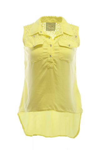 Sleeveless Eyelet, Hi-Low Snap Down Crystal And Pearl Detail Blouse