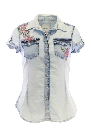 Light Wash Short Sleeved Floral Sequin And Bead Detail Snap-down Blouse