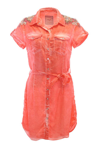 Orange Short-Sleeve Belted Crystal And Sequin Detailed Shirtdress