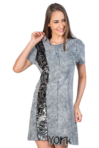"Gray Cotton Jersey Embellished ""Paris"" Jagged Hem Mini Dress"
