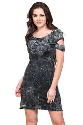 "Acid Wash Jersey Crystal Embellished ""Skull"" Cold Shoulder Mini Dress"