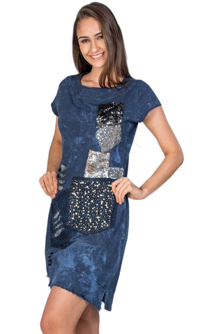 Blue Glitter Pearl Embellished Distressed Patch Detail High-Low Dress