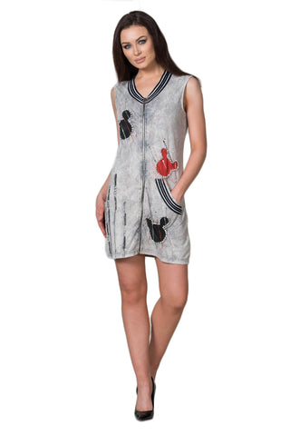 "Cotton Jersey ""Mickey"" Crystal Embellished Zipper Front Mini Dress"