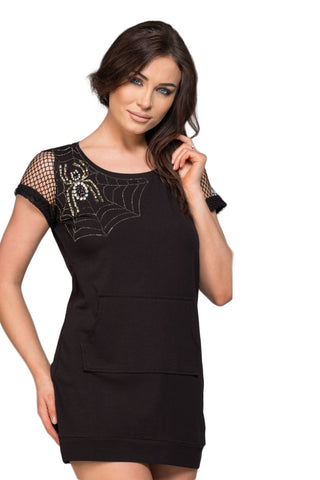 "Black Net Sleeved ""Spider Web"" Embellished Front Pocket Mini Dress"
