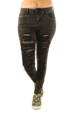 Black Washed Distressed Crystal Embellished Skinny Jeans