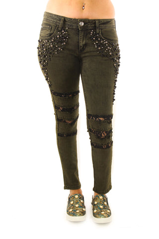 Olive Colored With Lace Inset Black Crystal And Bead Embellished Jeans