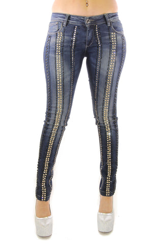 Vintage Washed Black Crystal And Stud Embellished Skinny Jeans