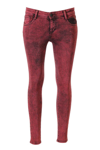 Red And Black Wash, Delicate Black Crystal Encrusted Skinny Jeans