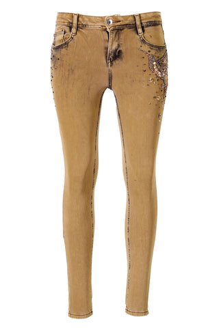 Gold Wash, Humming Bird bead and Sequin Embellished Jeans