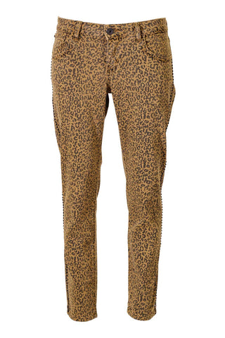 Gold Leopard Print, Black And Gold Crystals Down Outer Seam Pants