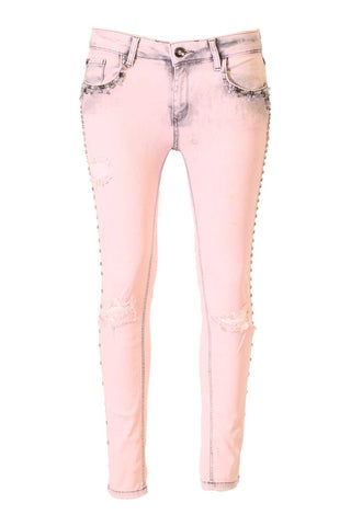 Pink Wash Distressed, Crystal Pocket Side Seam Embellished Skinny Jeans