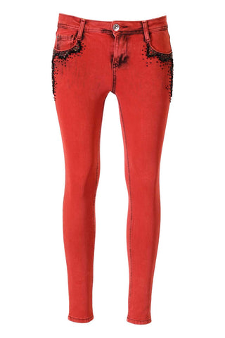 Red Wash, Black Bead And Crystal Pocket Embellished Skinny Jeans