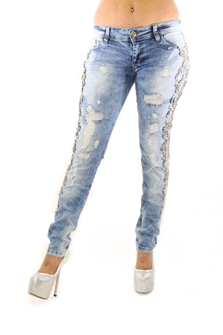 Distressed Blue And White Bead And Crystal Detail Outer Seam Jeans