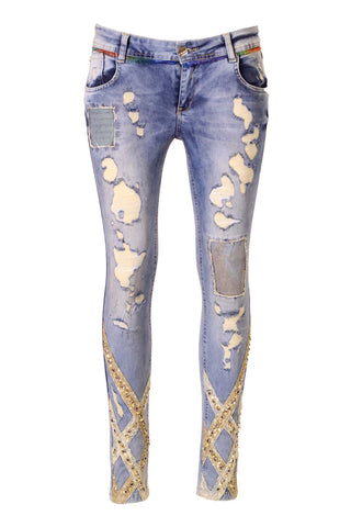 Distressed Gold Stud Sequin and Poetry Patch Embellished Skinny Jeans