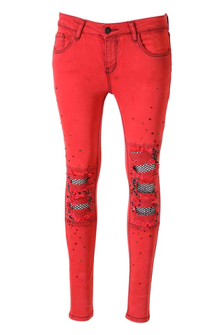 Hot Red Distressed Black Crystal And Stud Embellished Skinny Jeans