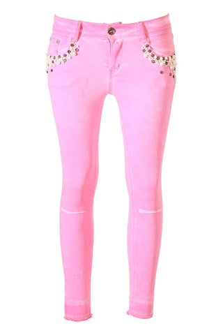 Distressed Hot Pink, Pearl And Crystal Pocket Details Skinny Jeans