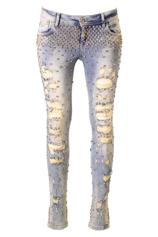 Distressed Light Gold Wash, Square Crystal Embellished Skinny Jeans
