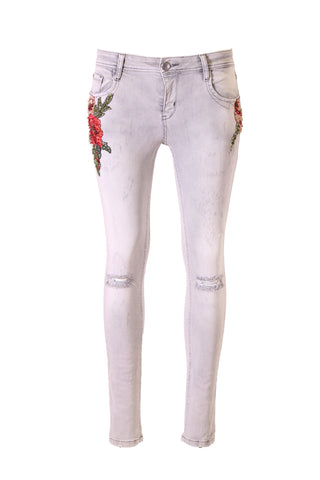 Gray Bead And Sequin Floral Applique Details Distressed Jeans
