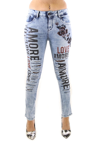 Amore Rose Screen Print Black Crystal Embellished Distressed Jeans