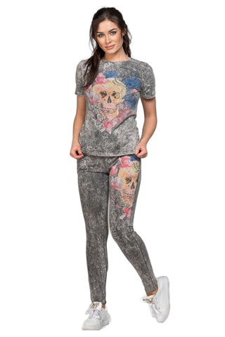 "Cotton Jersey Embellished ""Floral Skull"" Luxe Lounger Set"