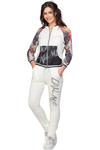 Colorful Arms Embellished Jacket And Pant Luxe Lounge Set