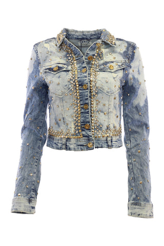 Vintage Wash Crystal And Stud Embellished Distressed Denim jacket