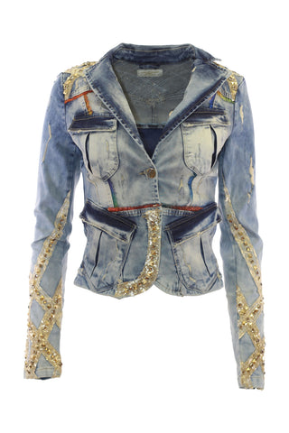 Golden Sequin And Stud Embellished Light Wash Denim Blazer