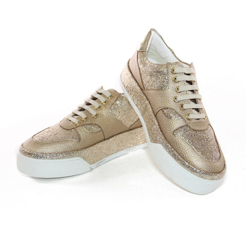 Metallic Gold Vegan Leather Lace-Up Sneakers Trimmed In Gold Glitter