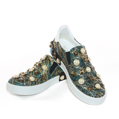 Blue And Gold Brocade Pearl Embellished Slip-On Sneakers