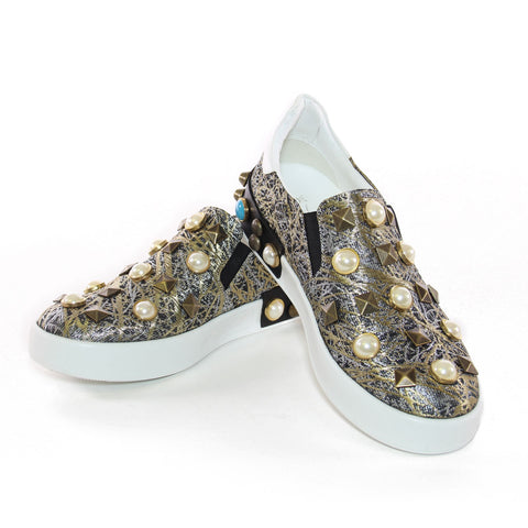 Black And Gold Brocade Pearl Embellished Slip-On Sneakers