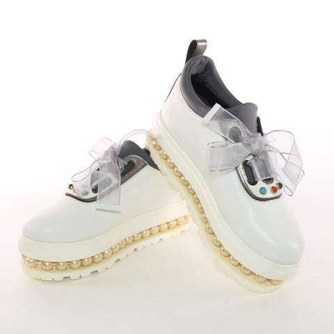 White Platform Slip-On Sneakers Embellished With Pearls and Silver Trim