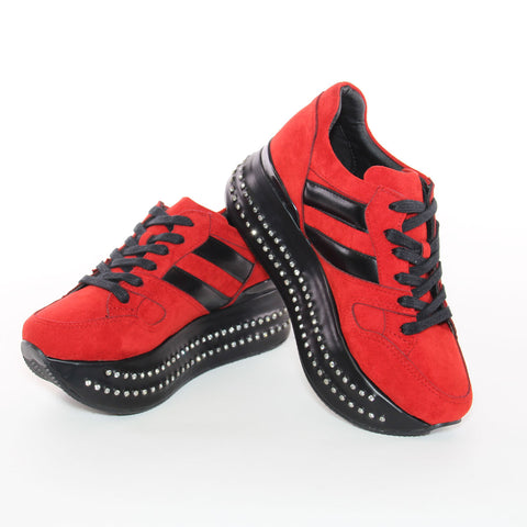 Red Suede Black Platform Lace-Up Fashion Sneakers With Crystal Detailing