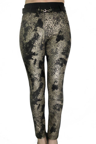 Skinny Stretch Fabric Golden Leopard Pants Crystal Embellished Sides