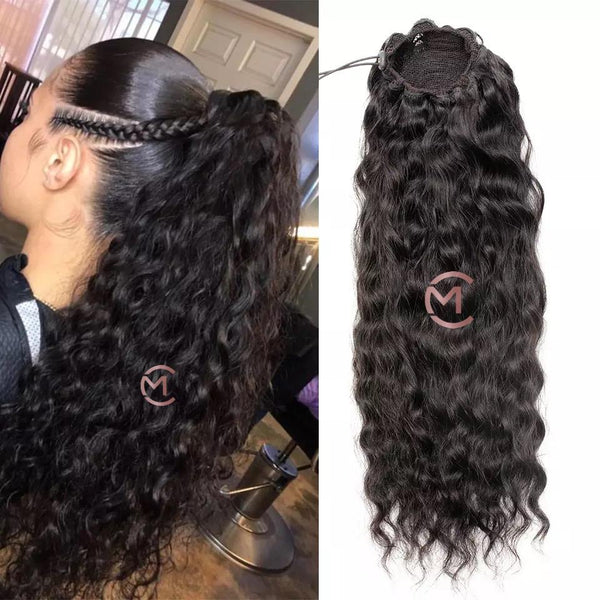 100% Waterwave Human Hair Pony Tail