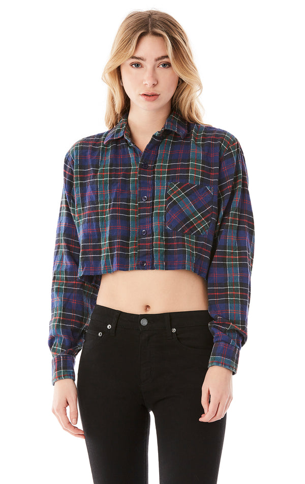 VINTAGE OPEN CHAIN BACK CROP FLANNEL