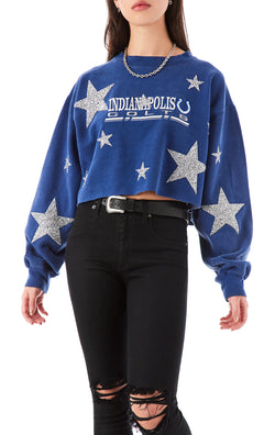 VINTAGE MIXED STAR PATCH CROP SWEATSHIRT